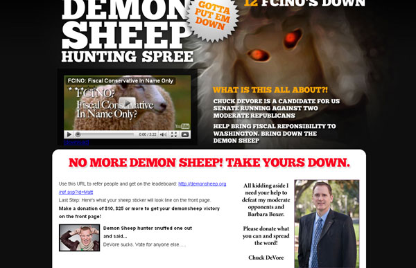 DeVore Sucks Update Three: CA Sen: Chuck DeVores Demon Sheep Website Springs a Leak   DeVore Sucks