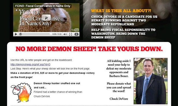Devone Finland Update Three: CA Sen: Chuck DeVores Demon Sheep Website Springs a Leak   DeVore Sucks