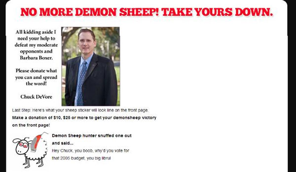 Devore Librul Update Three: CA Sen: Chuck DeVores Demon Sheep Website Springs a Leak   DeVore Sucks