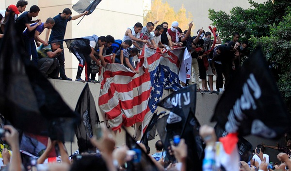 Egypt protest with American Flag The Morning Flap: September 13, 2012