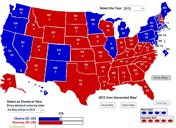 Electoral College August 11 2012 Poll Watch: Romney Takes the Lead in the Electoral College for First Time