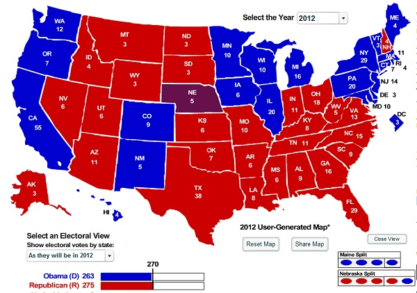 Electoral college map scenario President 2012: Obama Targets a Few Key States