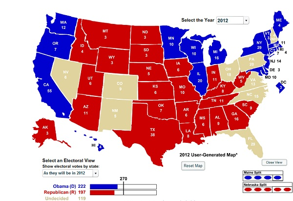 Frist Read Electoral College Map Rev President 2012: New Battleground Electoral College Map