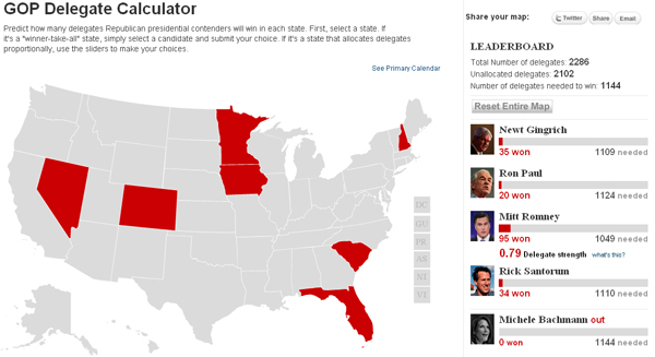GOP Delegate Calculator President 2012: The GOP Presidential Delegate Calculator