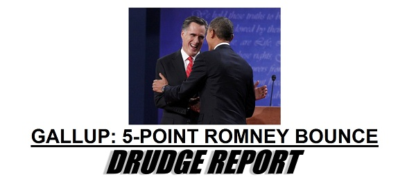 Gallup Poll bump for Romney Gallup Poll: Romney Post Debate Draws Even with Obama