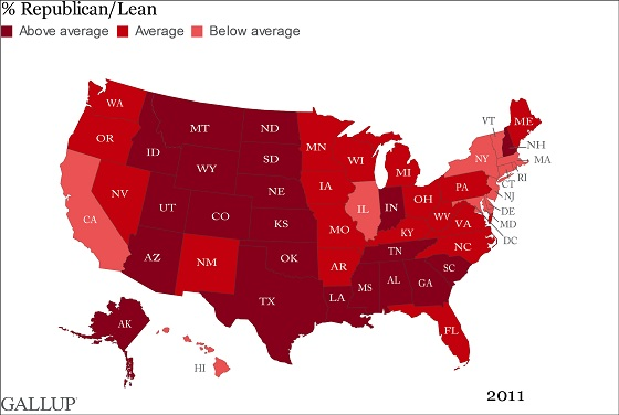 Gallup Red State Map Cheer Up Republicans: More States Go RED in 2011