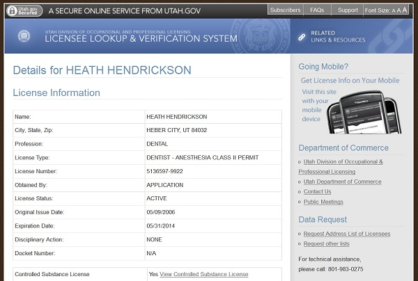 Heath Hendrickson Heber City Dental License