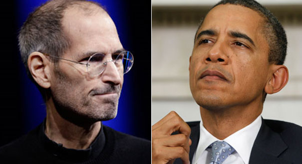 Jobs and obama Steve Jobs Tells Obama: Dude, You Are a One Term President