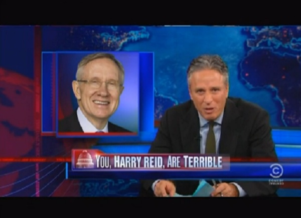 Jon Stewart and Harry Reid The Obligatory   You, Harry Reid, Are a Moron