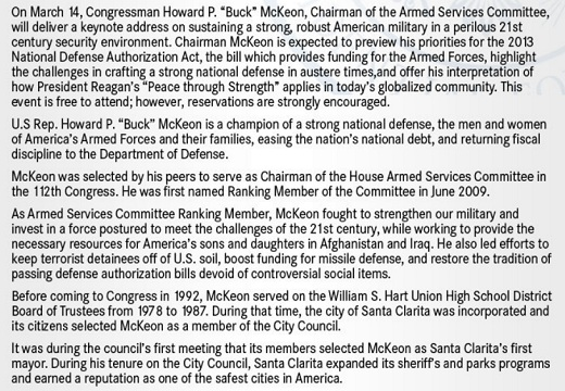 McKeon Press Release for Reagan Library CA 25: Rep Buck McKeon to Speak at the Reagan Presidential Library