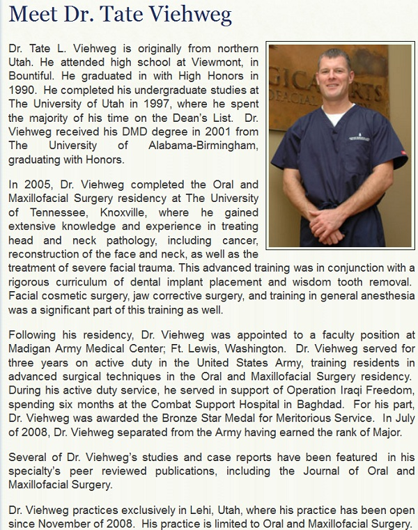 Oral surgeon Tate Viehweg website