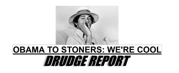 Drudge Screencap: Obama Cool to Non-enforcement of Marijuana Laws