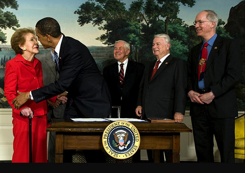 Obama Kisses Nancy Reagan President Obama Signs U.S. Representative Elton Galleglys Bill Honoring President Ronald Reagan