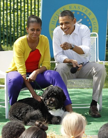 obama gets bitten by a dog