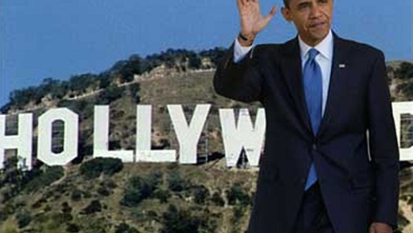 Obama in front of the Hollywood Sign