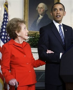 Obama and Nancy Reagan closeup President Obama Signs U.S. Representative Elton Galleglys Bill Honoring President Ronald Reagan