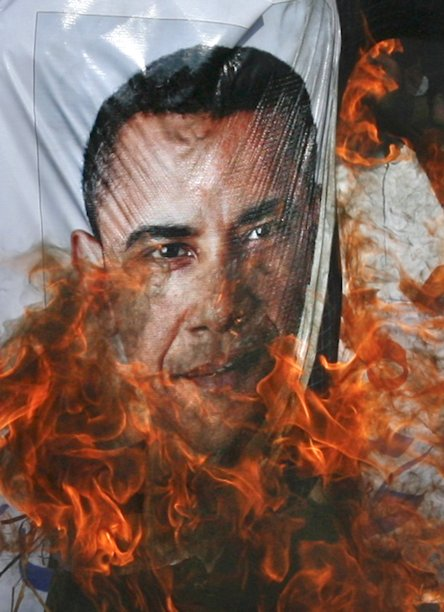 pictures of Obama burning