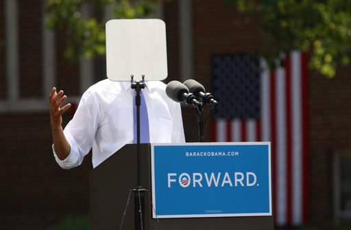 Obama speaking behind teleprompter