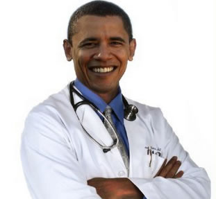 Obama in white coat The Troubles with ObamaCare Implementation