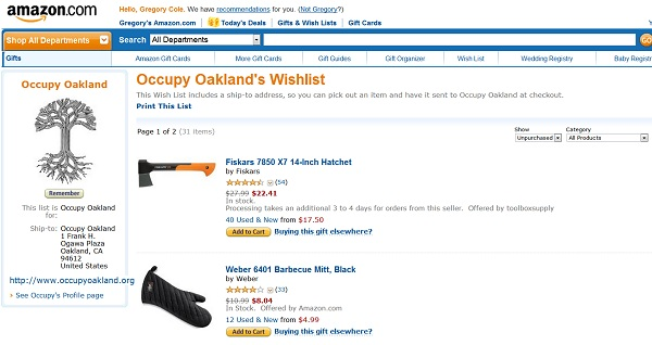 Occupy Oakland Amazon Wishlist Occupy Oaklands Amazon.com Wishlist