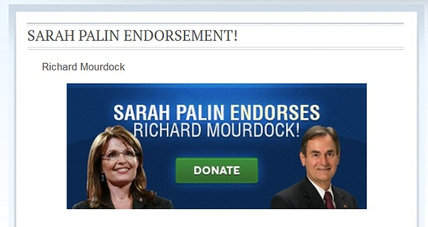 Palin and Mourdock IN Sen: Sarah Palin Endorses Richard Mourdock