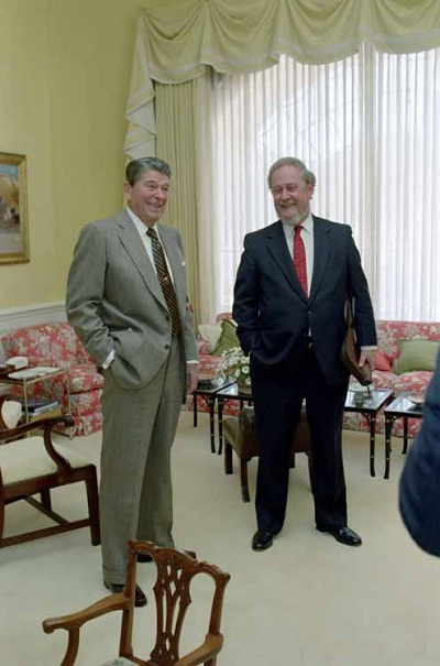 Judge Robert Bork with President Ronald Reagan
