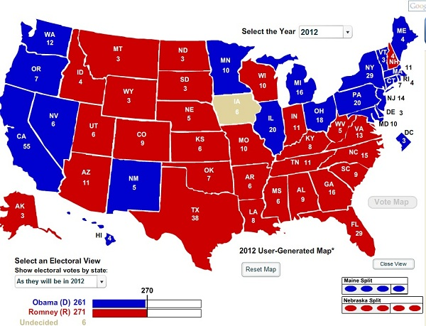 Romney State of the Race October 23 2012 The Electoral College: State of the Presidential Race