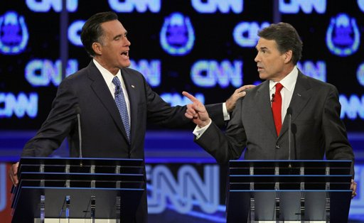 Romney touching Perry President 2012: Las Vegas GOP Debate   Winners and Losers
