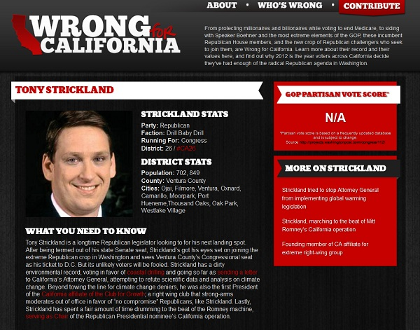 Tony Strickland Wrong for CA CA 26: California Democratic Party Strikes Out On Tony Strickland