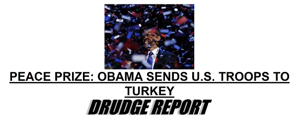 Drudge Screencap Obama Sending Troops to Turkey