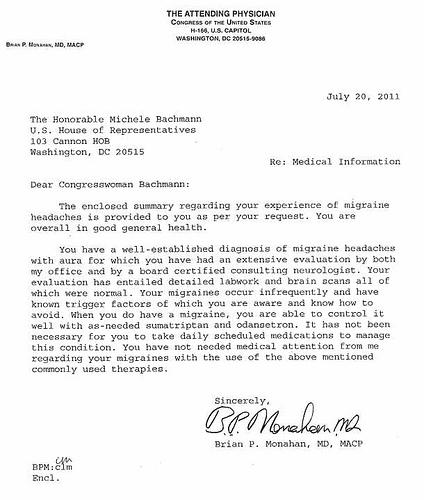 bachmanns doctor note President 2012: Michele Bachmanns Doctor Weighs In on Her Migraine Headaches