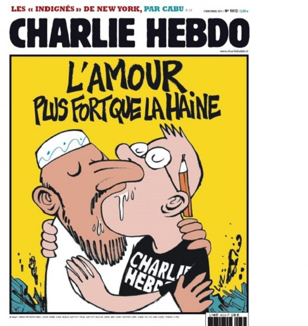charlie hebdo cover After Firebombing French Magazine Returns with Gay Muhammad Cover