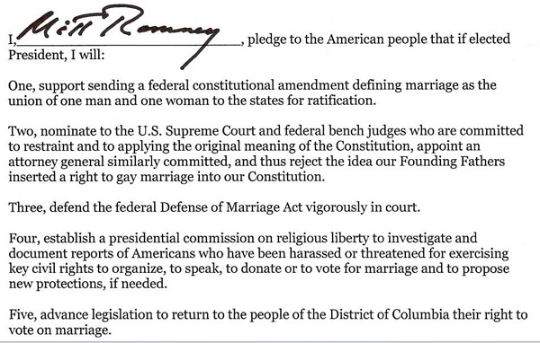 marriage pledge President 2012: Mitt Romney Signs National Organization of Marriage Pledge