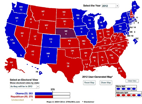 2012 Electoral College Final President 2012: New Battleground Electoral College Map