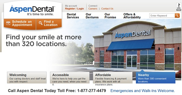Screencap from the Aspen Dental website