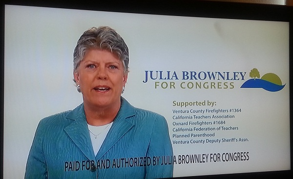 Screencap of Julia Brownley ad