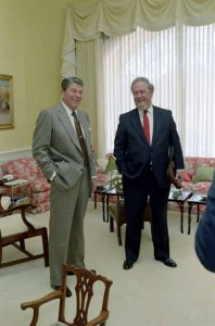 Judge Robert Bork with President Ronald Reagan
