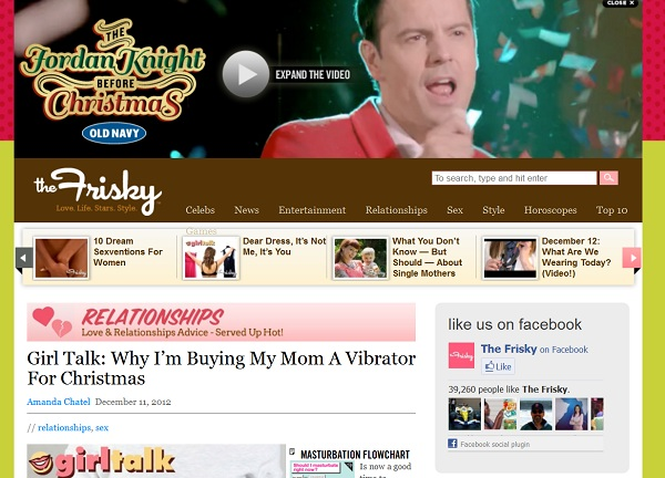 Screencap of The Frisky website