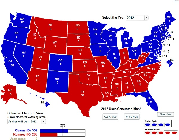 President 2012 Final Electoral College Map